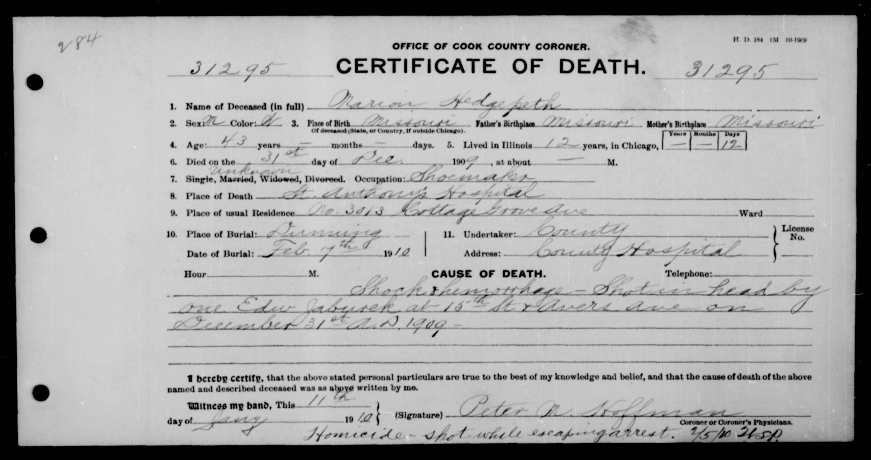 Marion Columbus Hedgepeth 1864 1909 Find A Grave Memorial