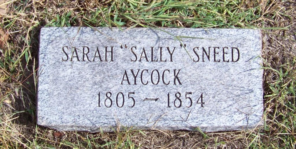 Sarah Ann Sally <i>Sneed</i> Aycock