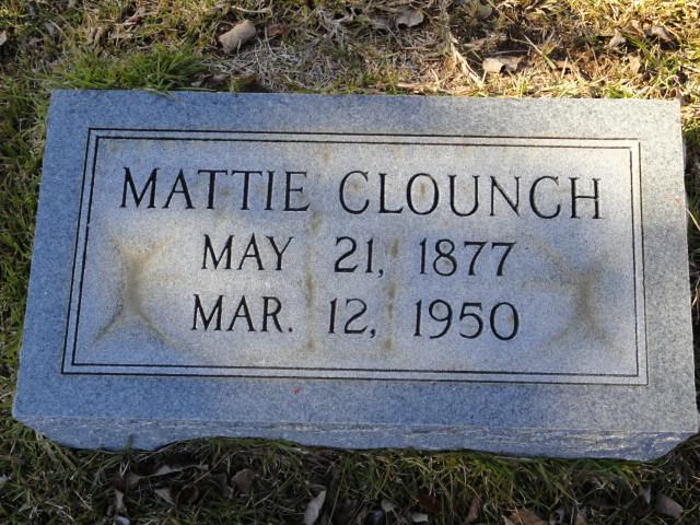 Martha Elizabeth Mattie <i>Carmack</i> Clounch