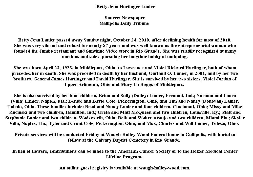 Betty Jean Hartinger Lanier (1923-2010) - Find A Grave Memorial