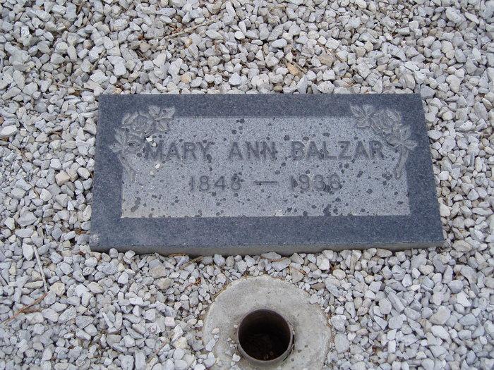 Mary Ann Minnie <i>Bennett</i> Balzar