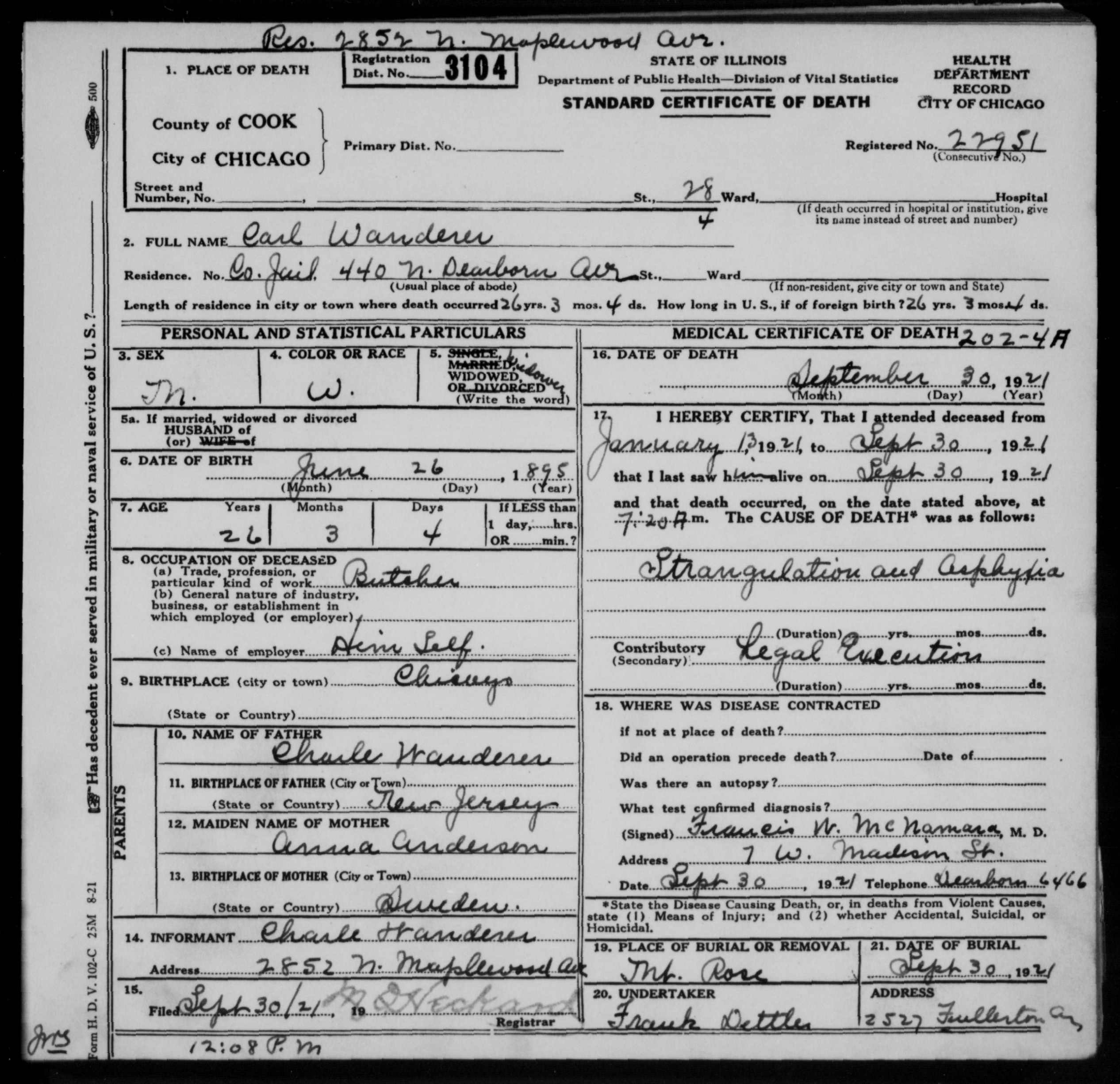 Carl otto wanderer 1895 1921 find a grave memorial view original his death certificate 1betcityfo Image collections