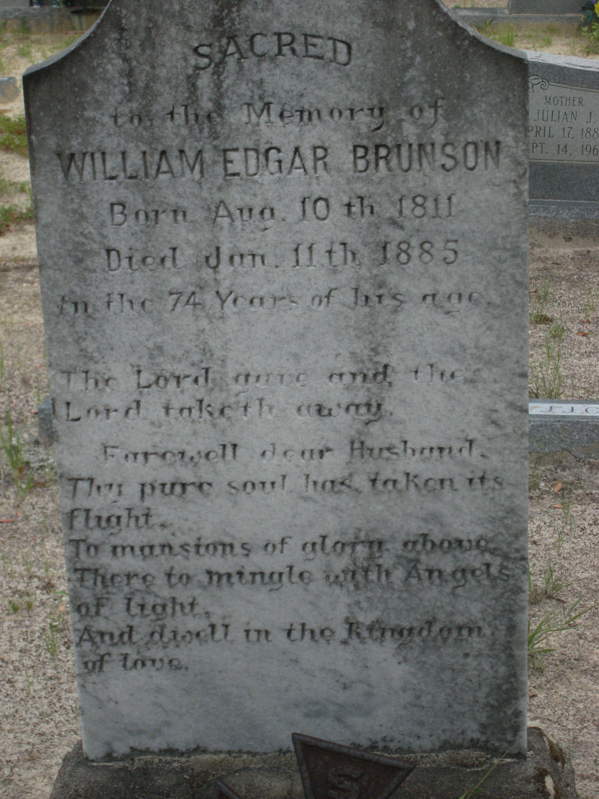 William Edgar Brunson (1811-1885) - Find A Grave Memorial