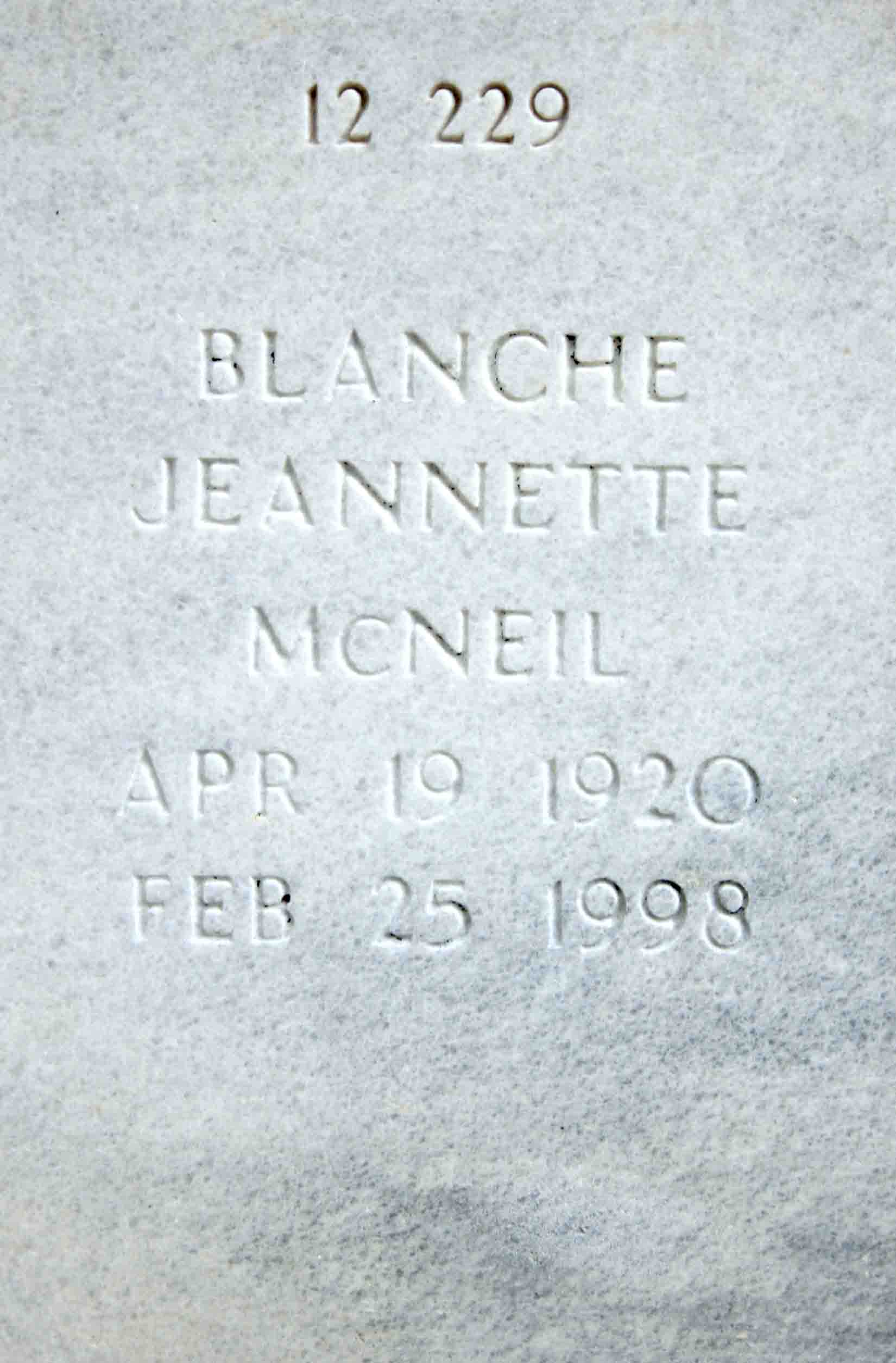 Blanche Jeanette Mcneil