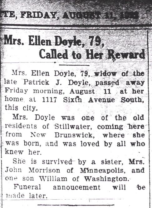 Mrs Ellen <i>Allen</i> Doyle