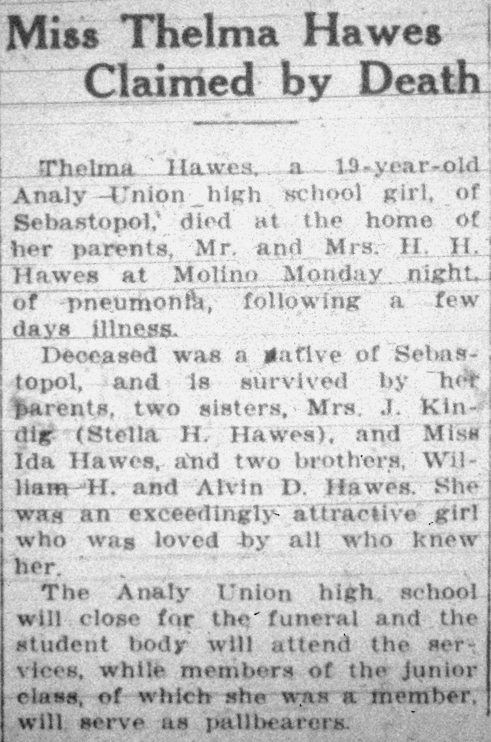 Thelma Pearl Hawes