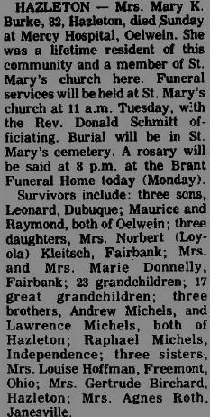 Mary Katherine <i>Michels</i> Burke