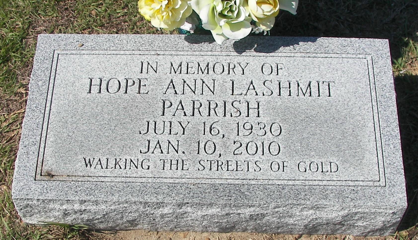 Hope Ann <i>Lashmit</i> Parrish
