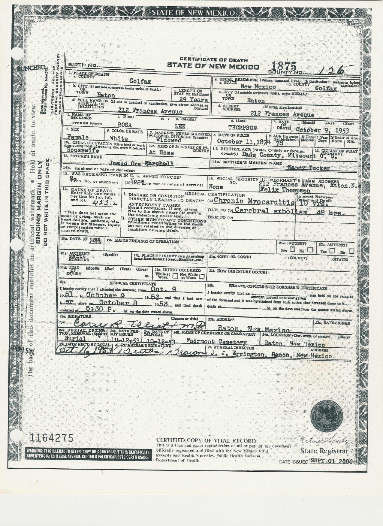Lucretia rosa lee j martin marshall thompson 1874 1953 find a death certificate certificate of death state of new mexico 1875 county no 126 place of death colfax county city of raton length of stay 29 years 1betcityfo Choice Image