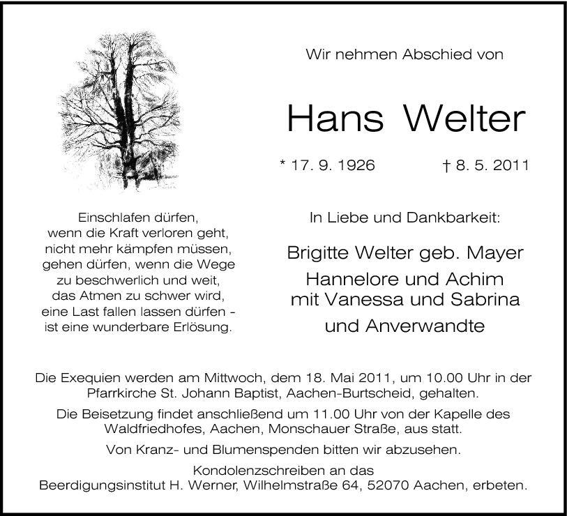 Welter Und Welter hans welter 1926 2011 find a grave memorial