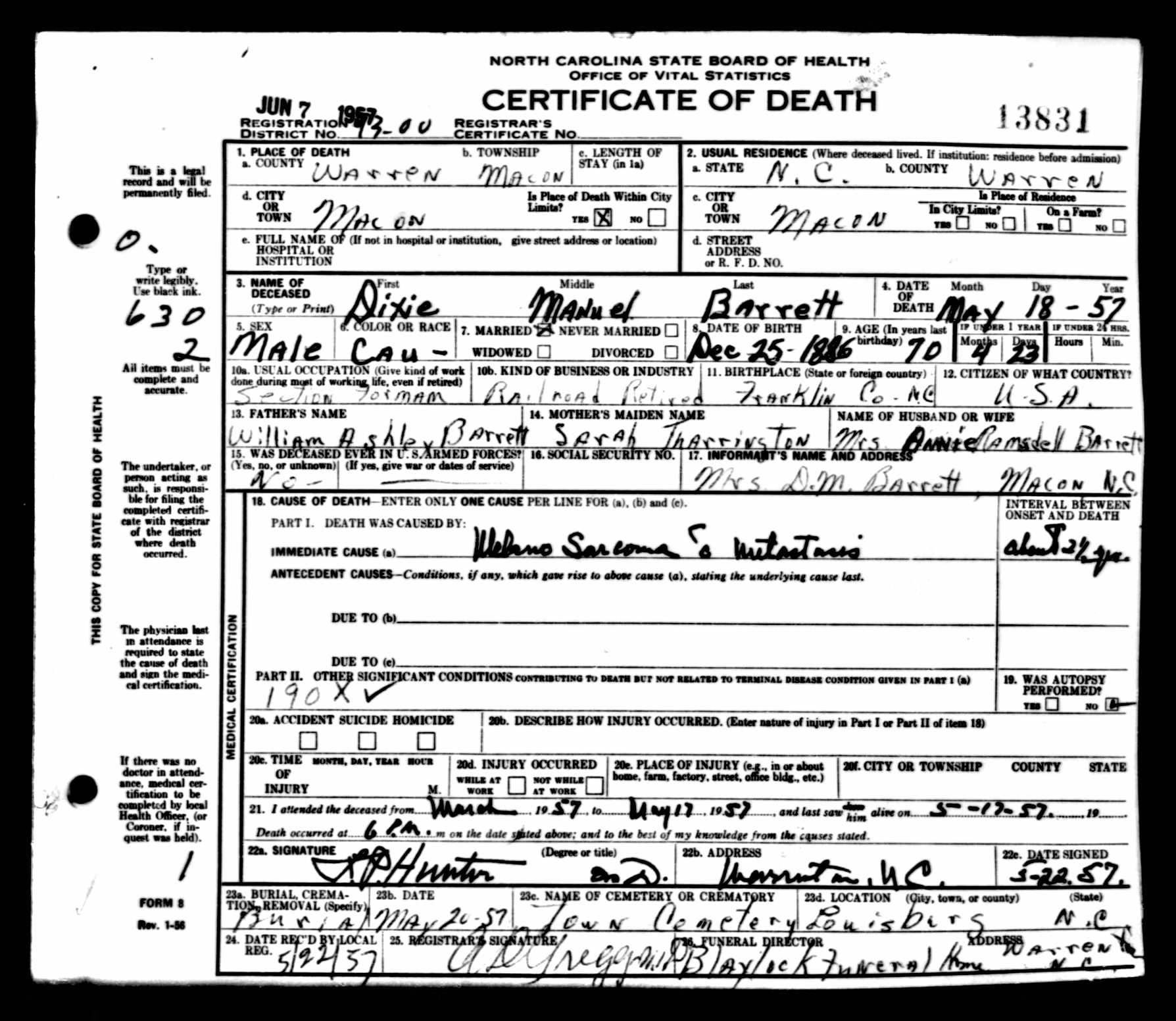 Dixie manuel barrett 1886 1957 find a grave memorial death certificate of dixie manuel barrettoakwood cemeterylouisburgncanklin county 1betcityfo Images