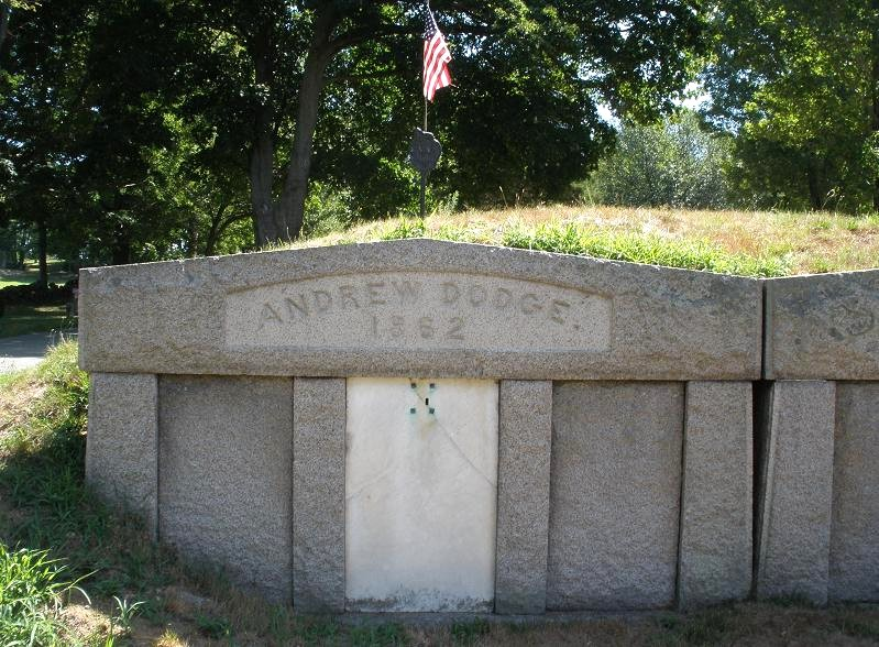 Crypt of Andrew and Anna Dodge, with the crypt of Ezra Dodge on the right, at the Rt. 1A cemetery in Wenham
