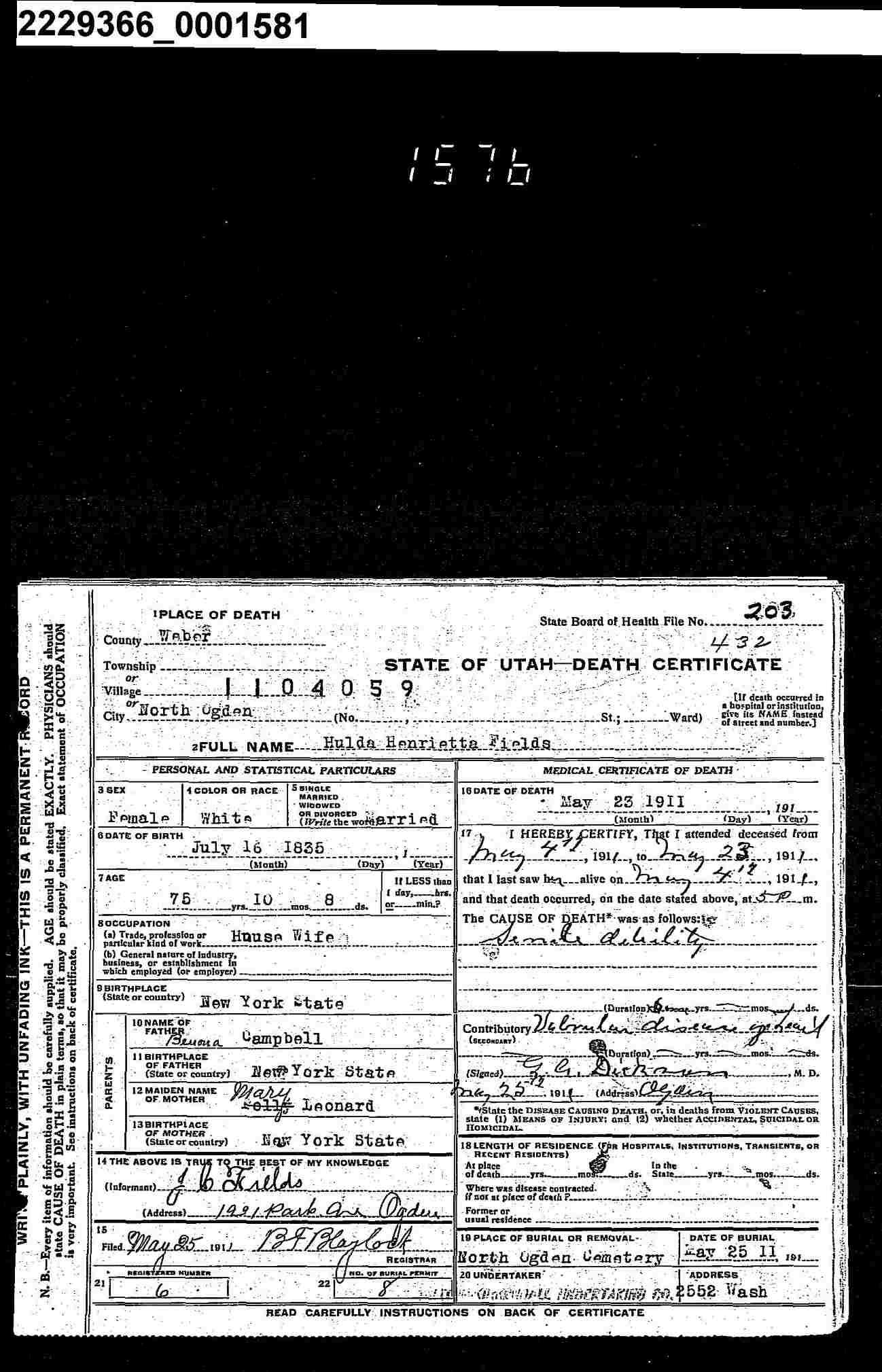 Hulda Henrietta Campbell Fields (1835-1911) - Find A Grave Memorial