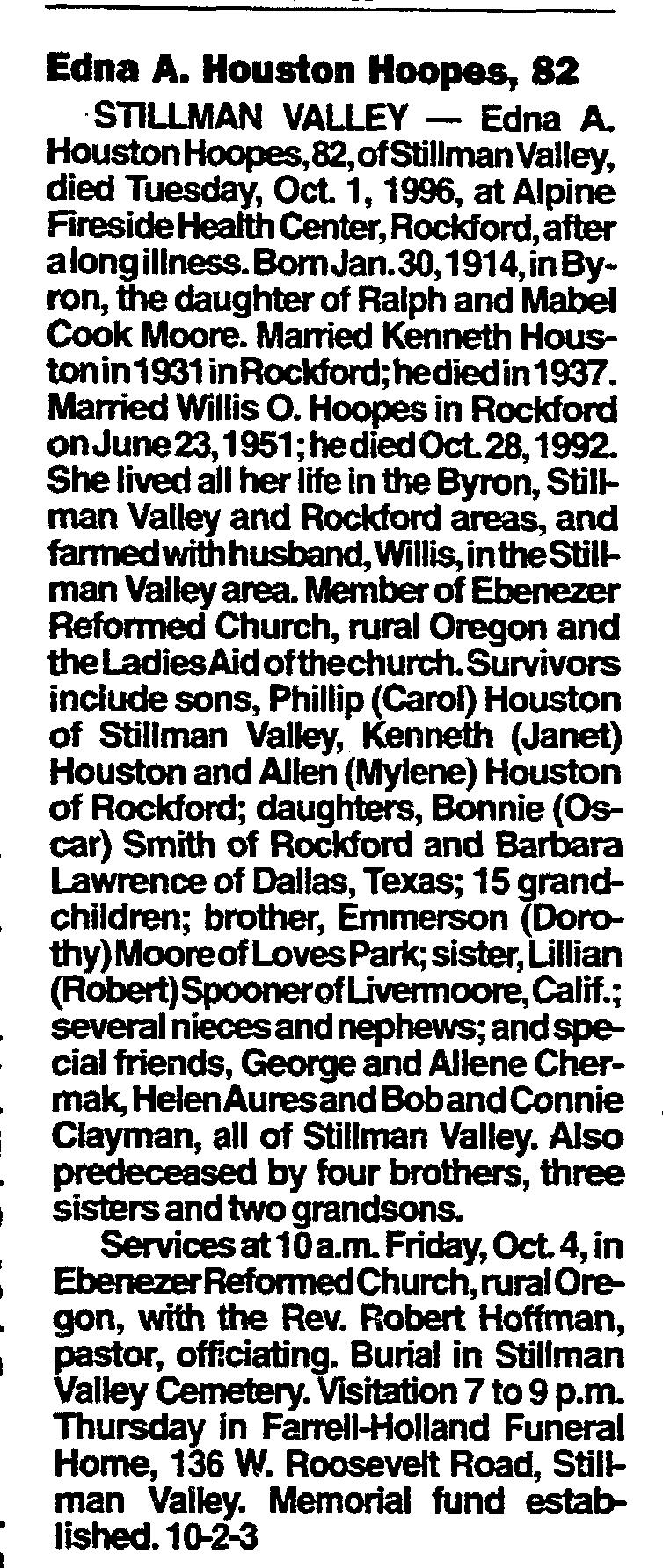 Edna A <i>Moore</i> Houston Hoopes