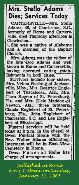 Lessie Estella Stella <i>Englebert</i> Adams