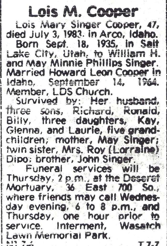 Lois Mary <i>Singer</i> Cooper