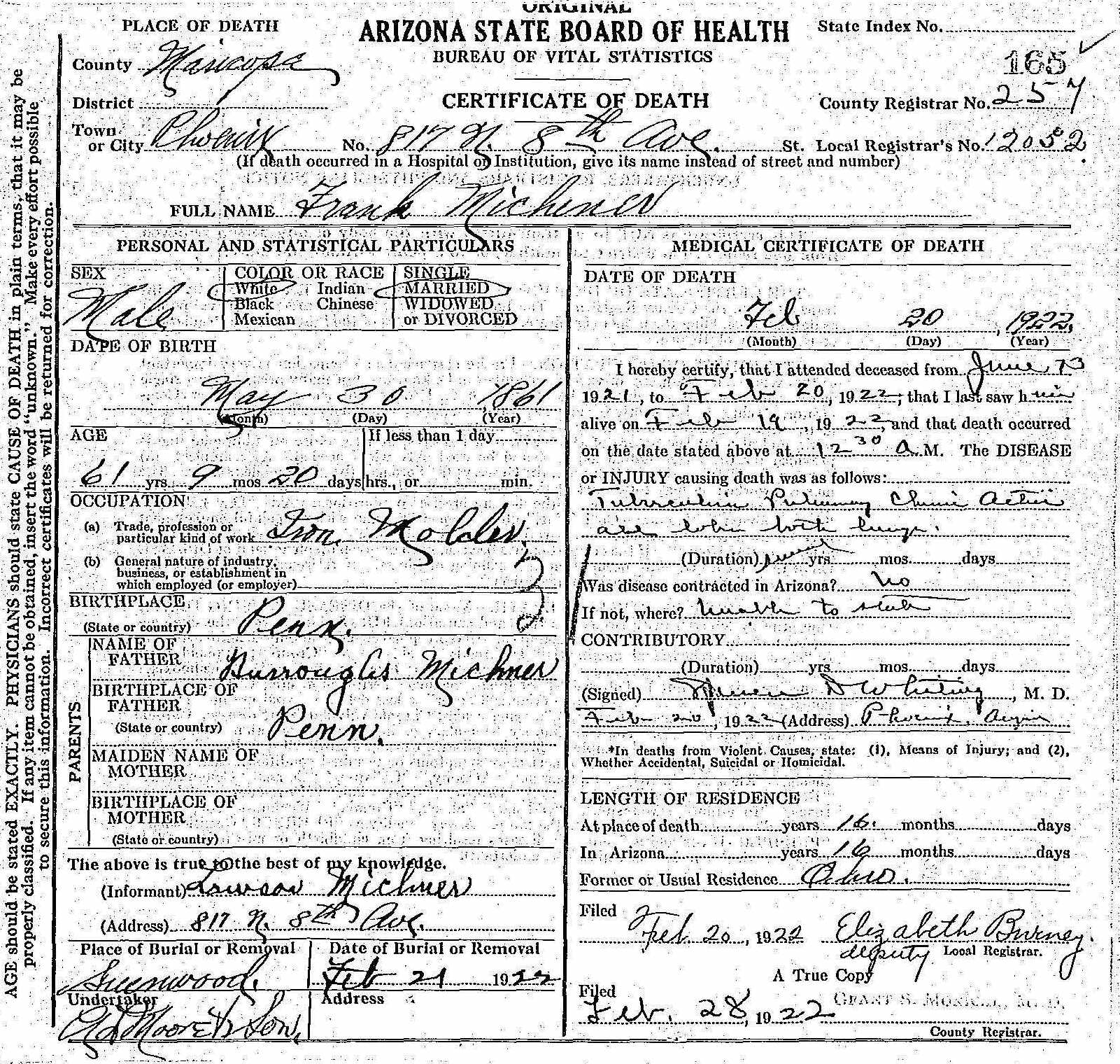 Frank michener 1861 1922 find a grave memorial state of arizona death certificate xflitez Choice Image