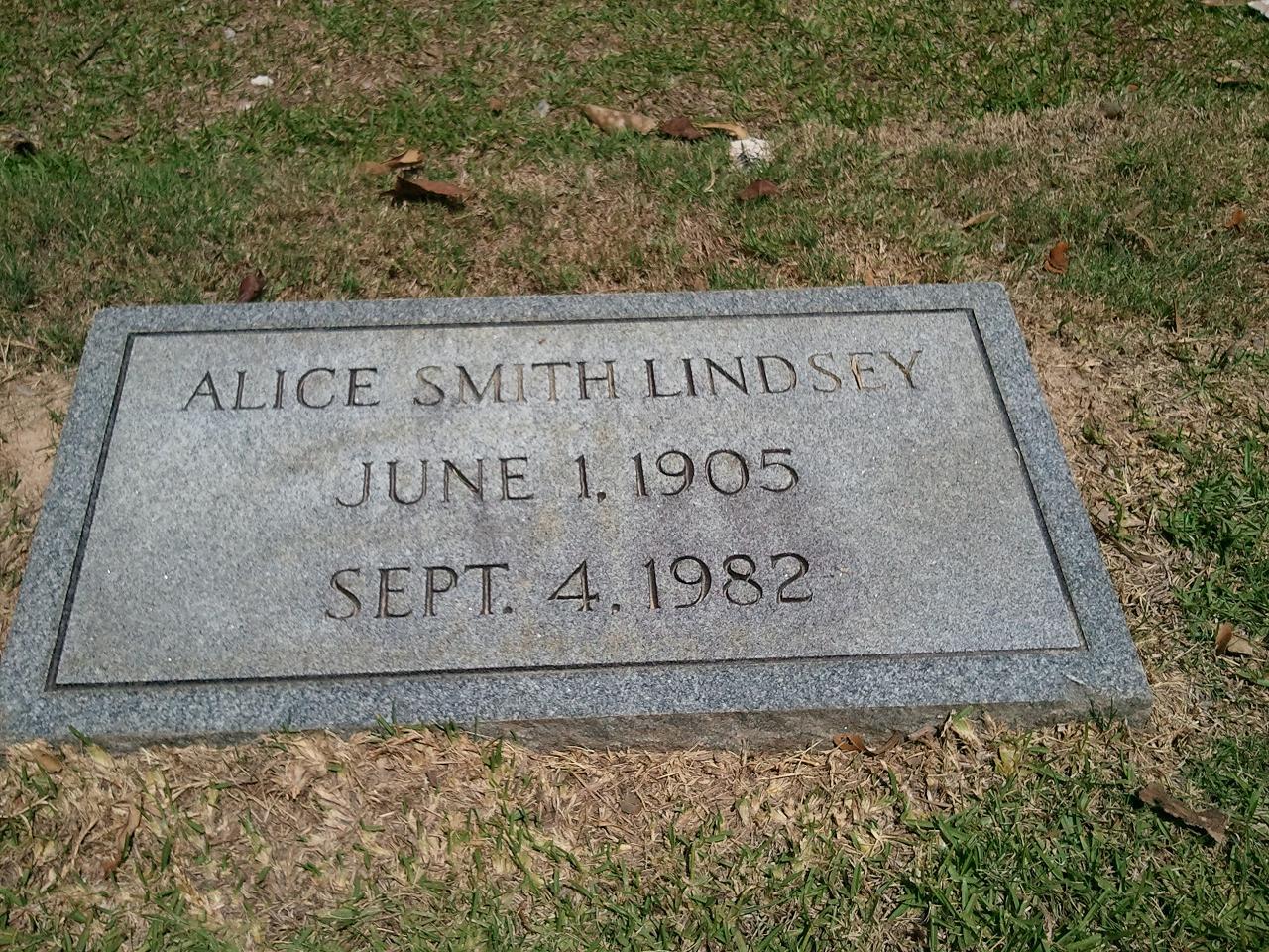 Alice <i>Smith</i> Lindsey