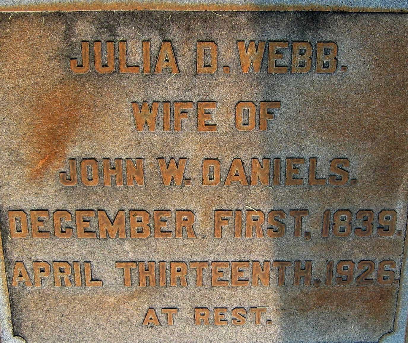 Julia Delilah <i>Webb</i> Daniels
