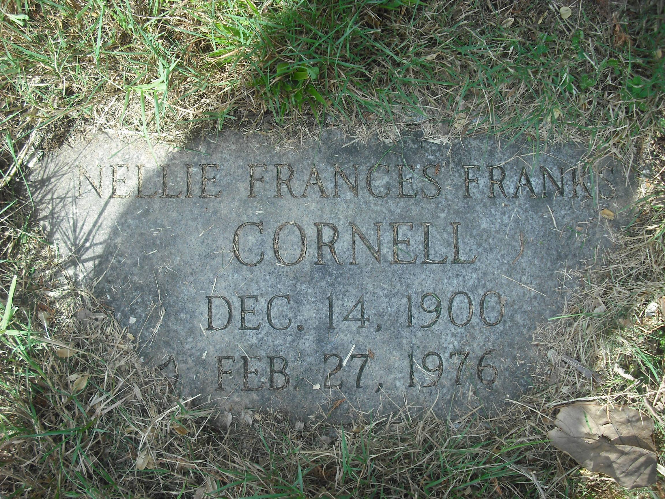Nellie Frances <i>Franks</i> Cornell