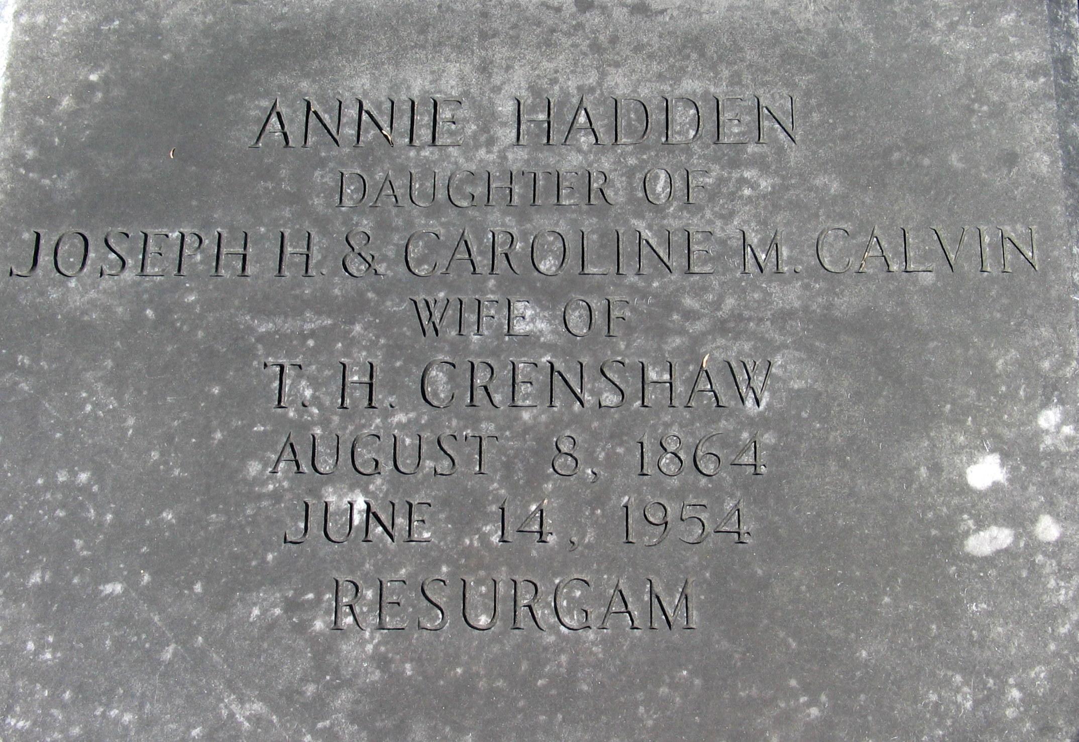 Annie Hadden <i>Calvin</i> Crenshaw