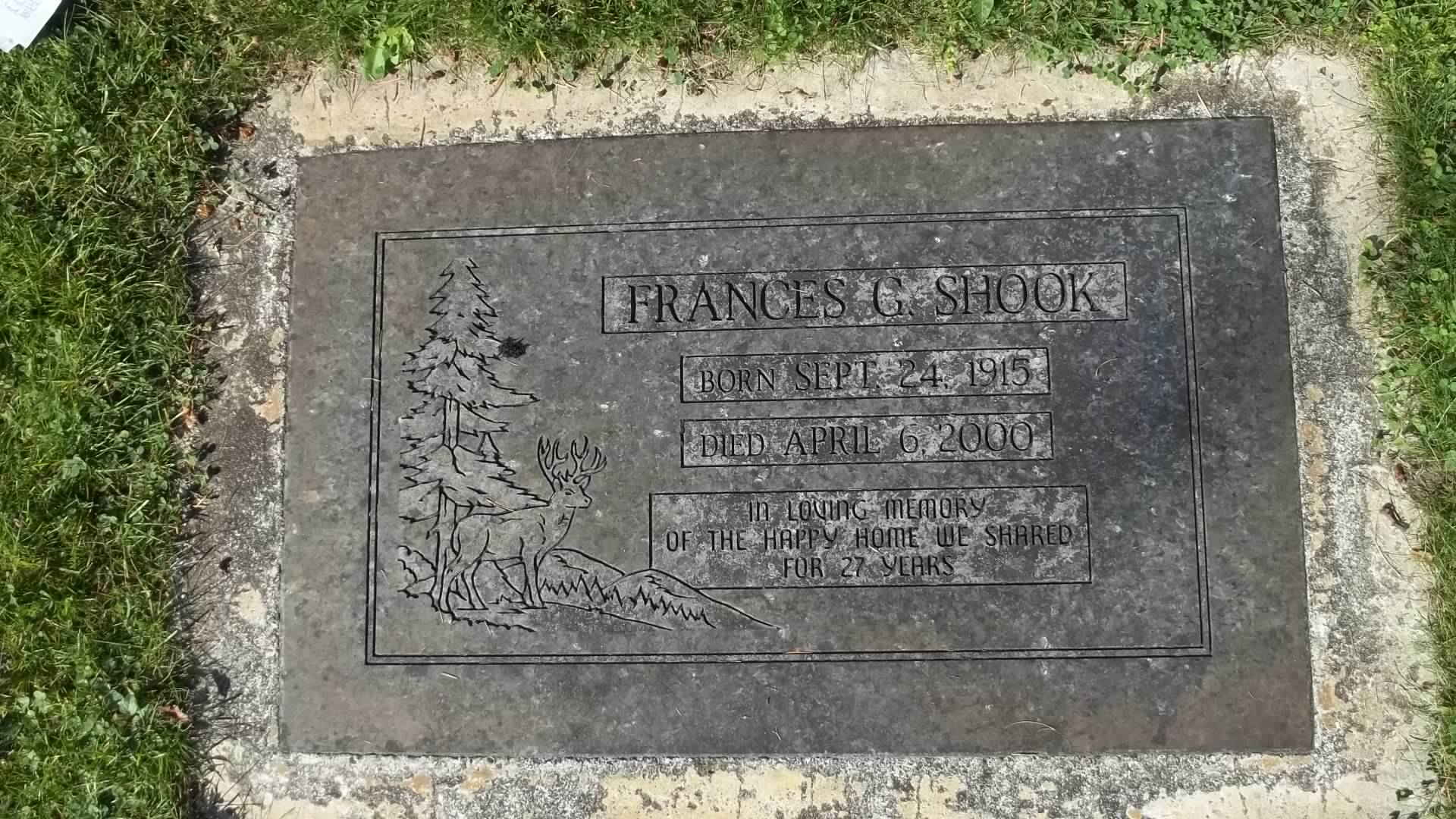 Frances G <i>Joers</i> Shook