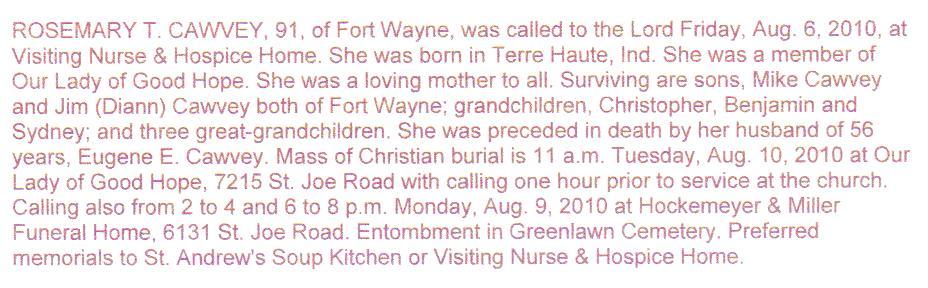 Rosemary Theresa Rosy <i>Neimeyer</i> Cawvey