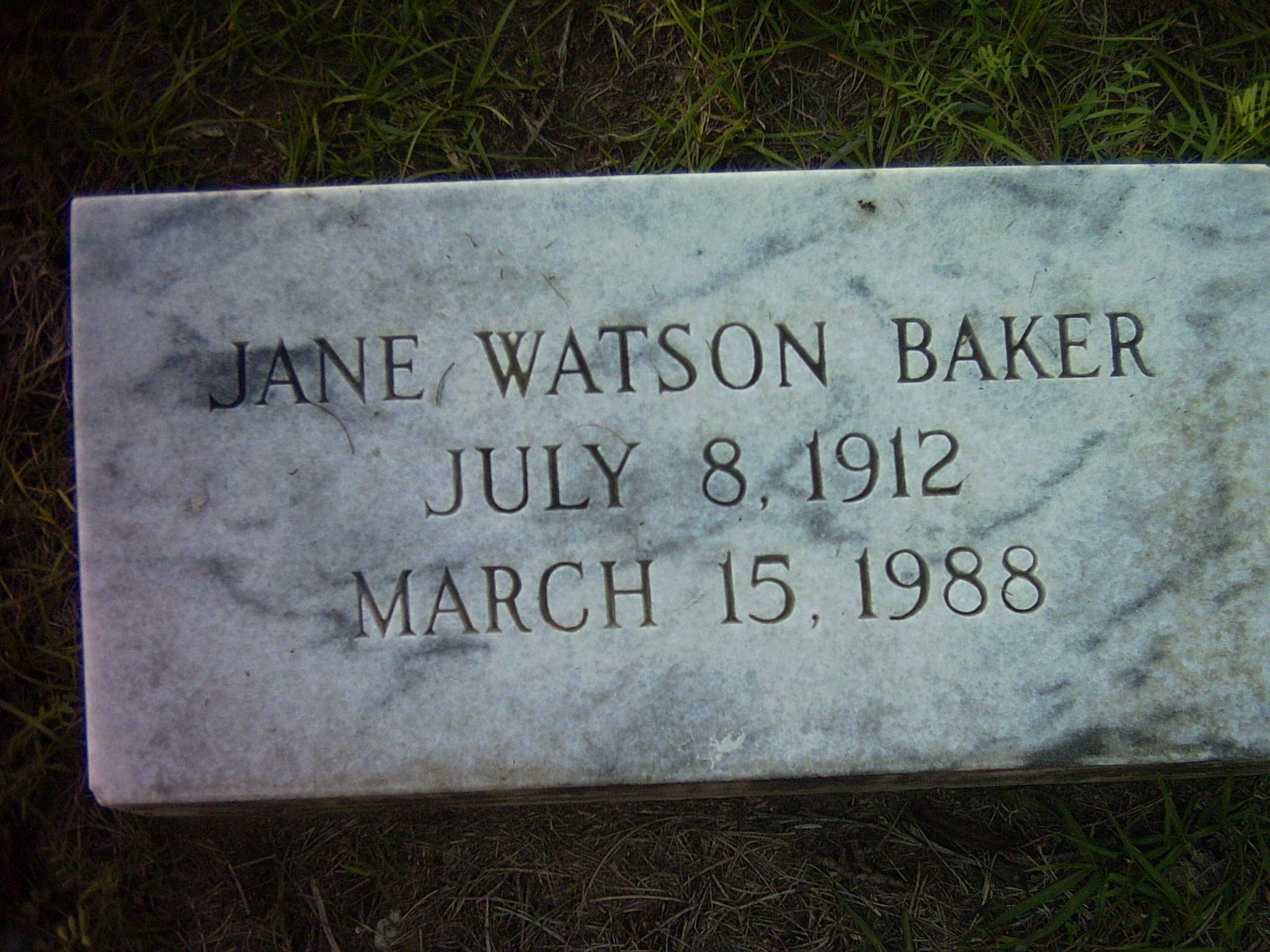 Jane <i>Watson</i> Baker
