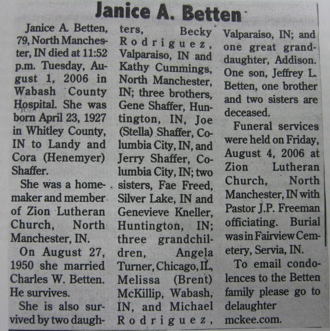 Janice A <i>Shaffer</i> Betten