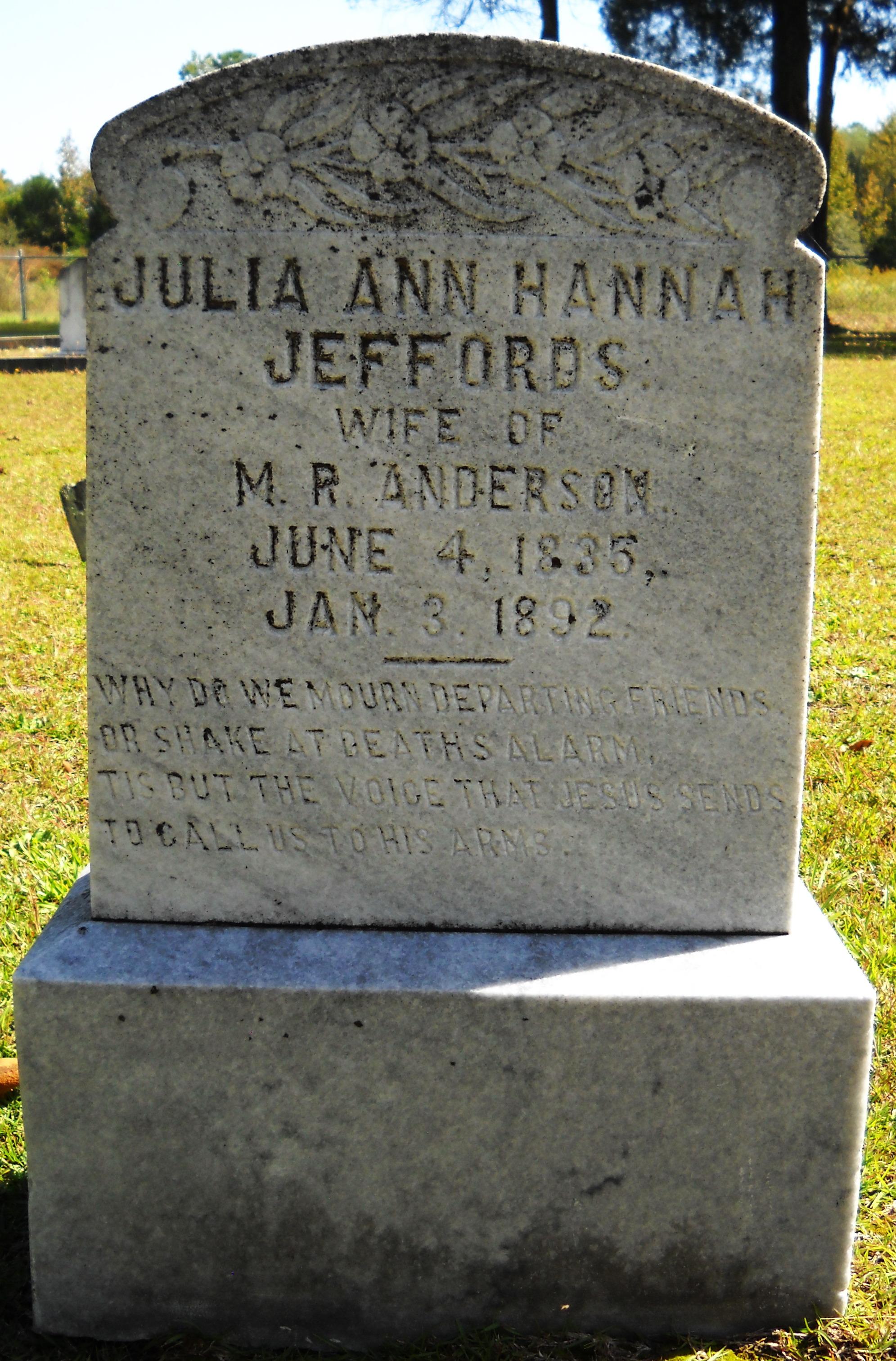 Julia Ann Hannah <i>Jeffords</i> Anderson