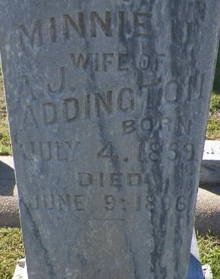 Minnie James <i>Dobbins</i> Addington
