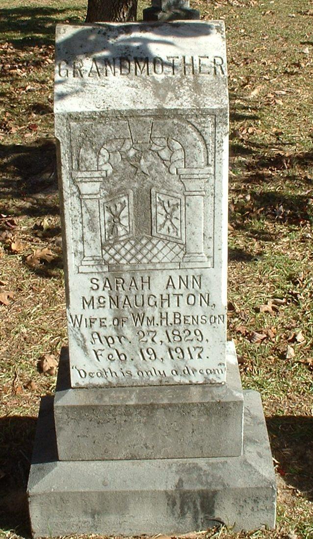 Sarah Ann <i>McNaughton</i> Benson