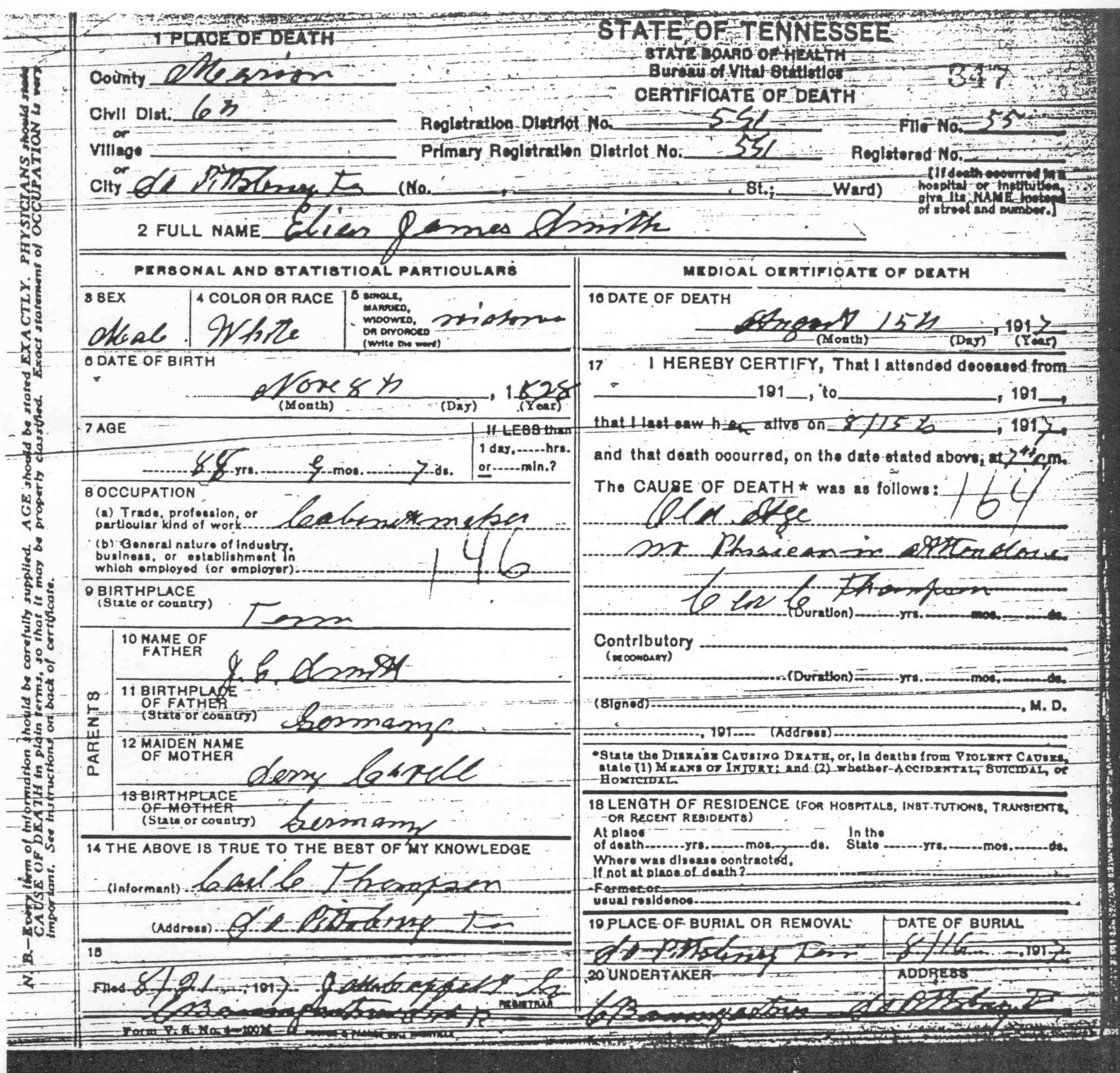 Elias james smith 1828 1917 find a grave memorial tennessee death certificate name elias james smith birth date 8 nov 1828 birth place tennessee age 88 death date 15 aug 1917 death place south 1betcityfo Images
