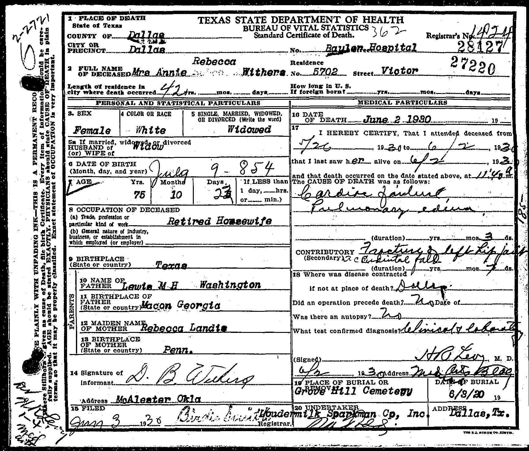 Annie rebecca washington withers 1854 1930 find a grave memorial annie rebecca washington withers dallas county texas death certificate 28127 born 9 july 1854 texas died 2 june 1930 roulen hospital dallas aiddatafo Image collections