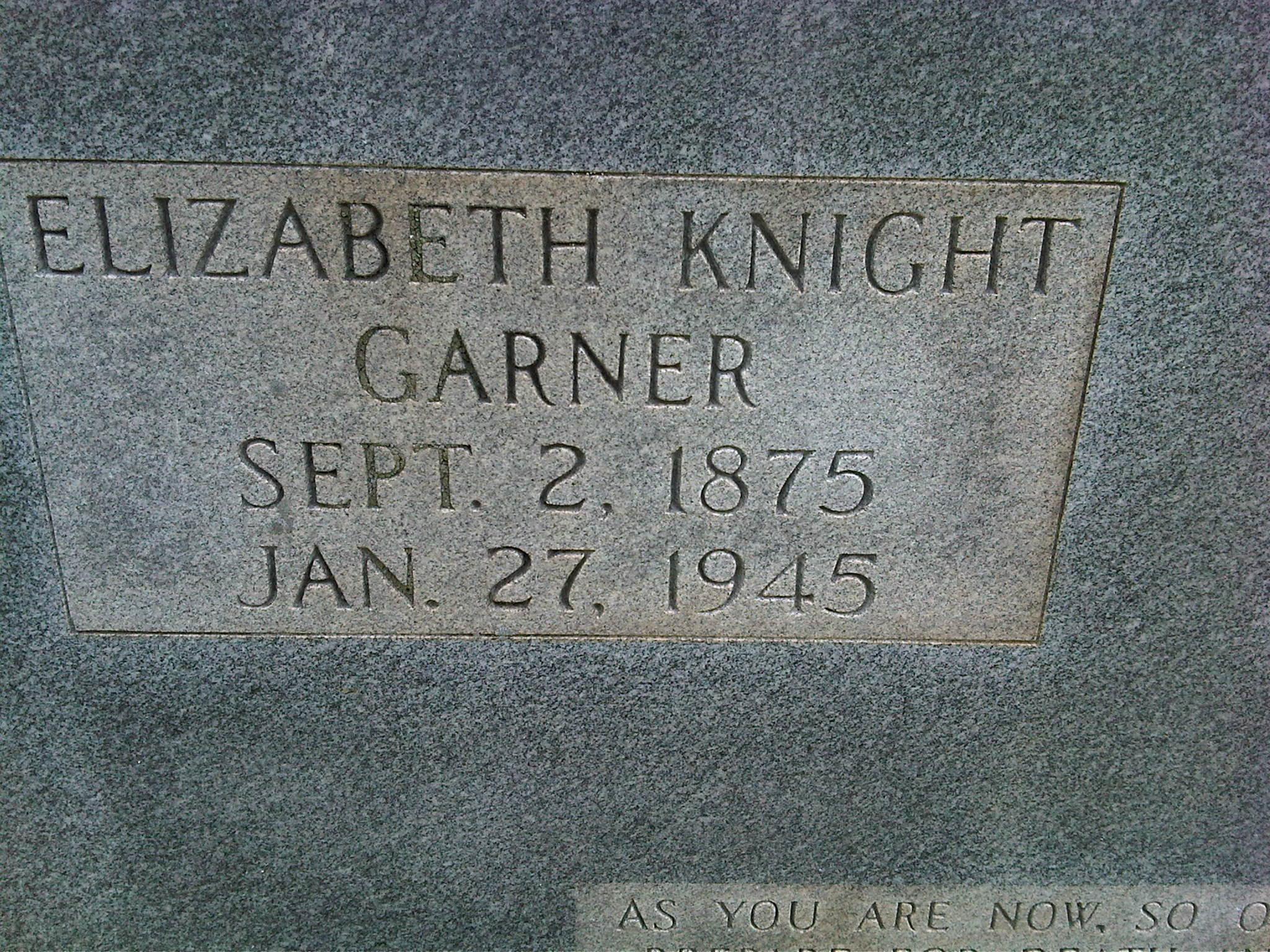 Elizabeth Rebecca <i>Knight</i> Garner
