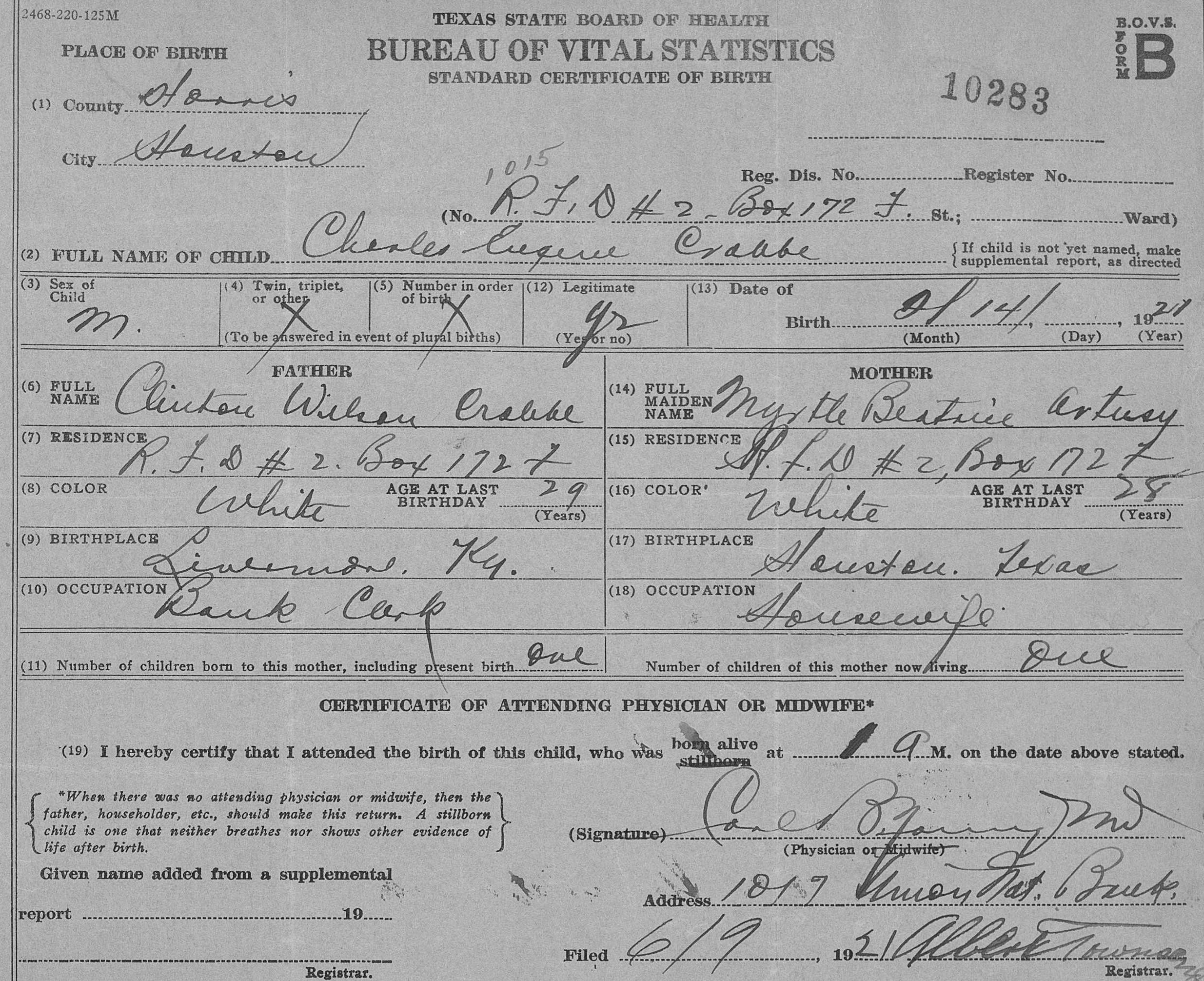 Charles eugene crabbe 1921 1934 find a grave memorial texas birth certificate aiddatafo Image collections