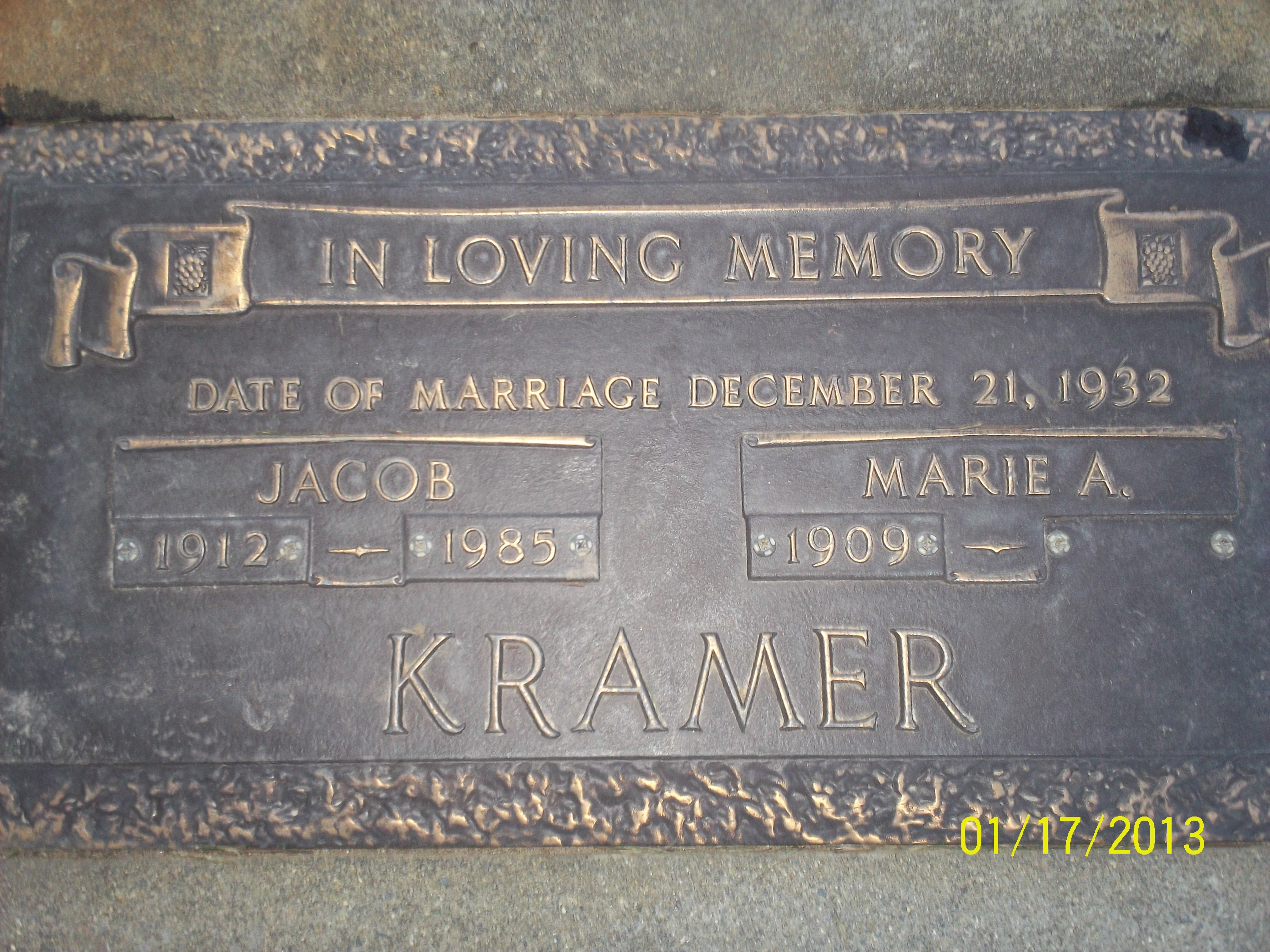 Marie Anna <i>Lorenzen</i> Kramer