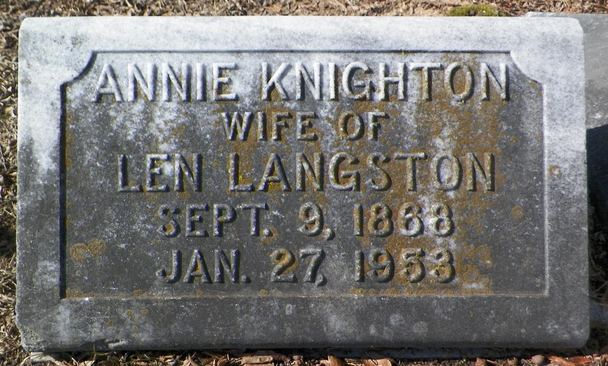 Anna Elizabeth Annie <i>Knighton</i> Langston