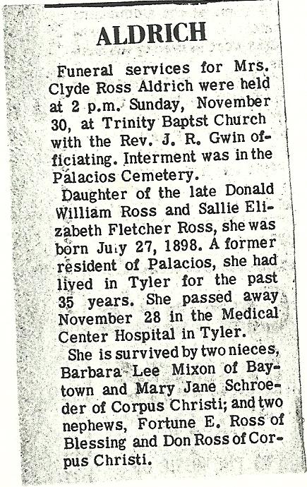 Ethel B Clyde <i>Ross</i> Aldrich