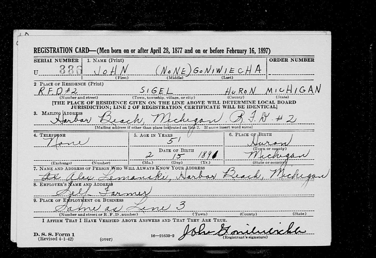 John goniwiecha 1891 1967 find a grave memorial according to a michigan birth certificate john goniwiecha was born to anthony goniwiecha and maria kowalski goniwiecha on february 15 1891 in sigel aiddatafo Image collections