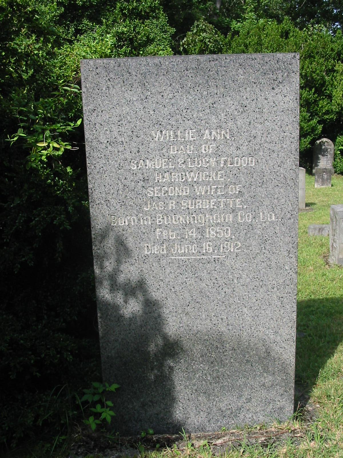 Willie Ann <i>Hardwicke</i> Burdette