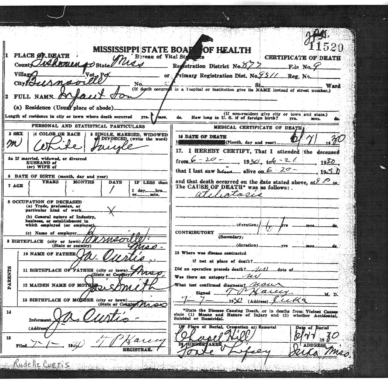 Rudelle curtis 1930 1930 find a grave memorial certificate of death for rudelle curtis born and died in burnsville tishomingo county mississippi rudelle lived for only a day in 1930 but my mother aiddatafo Images