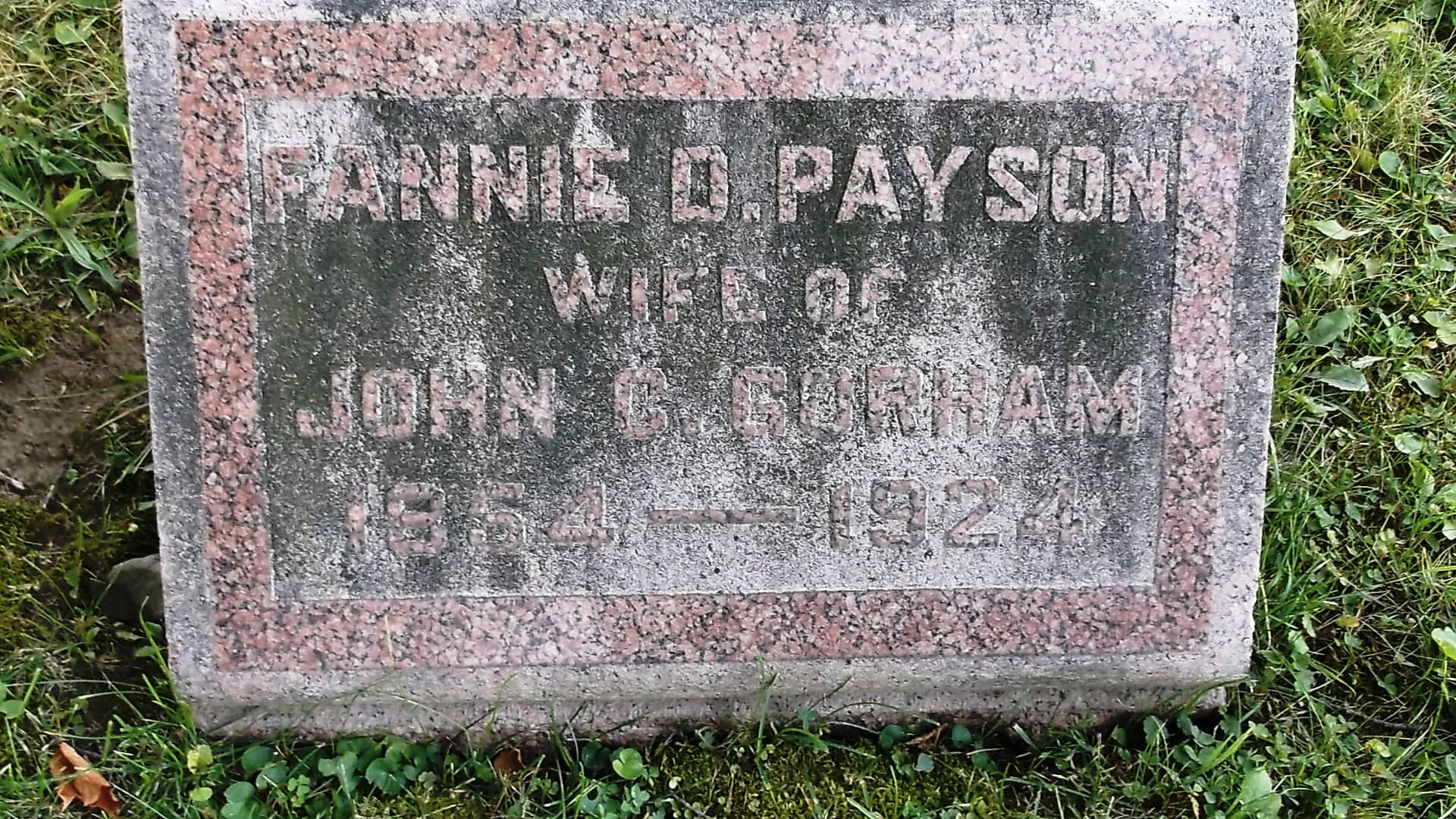 Fannie D <i>Payson</i> Gorham