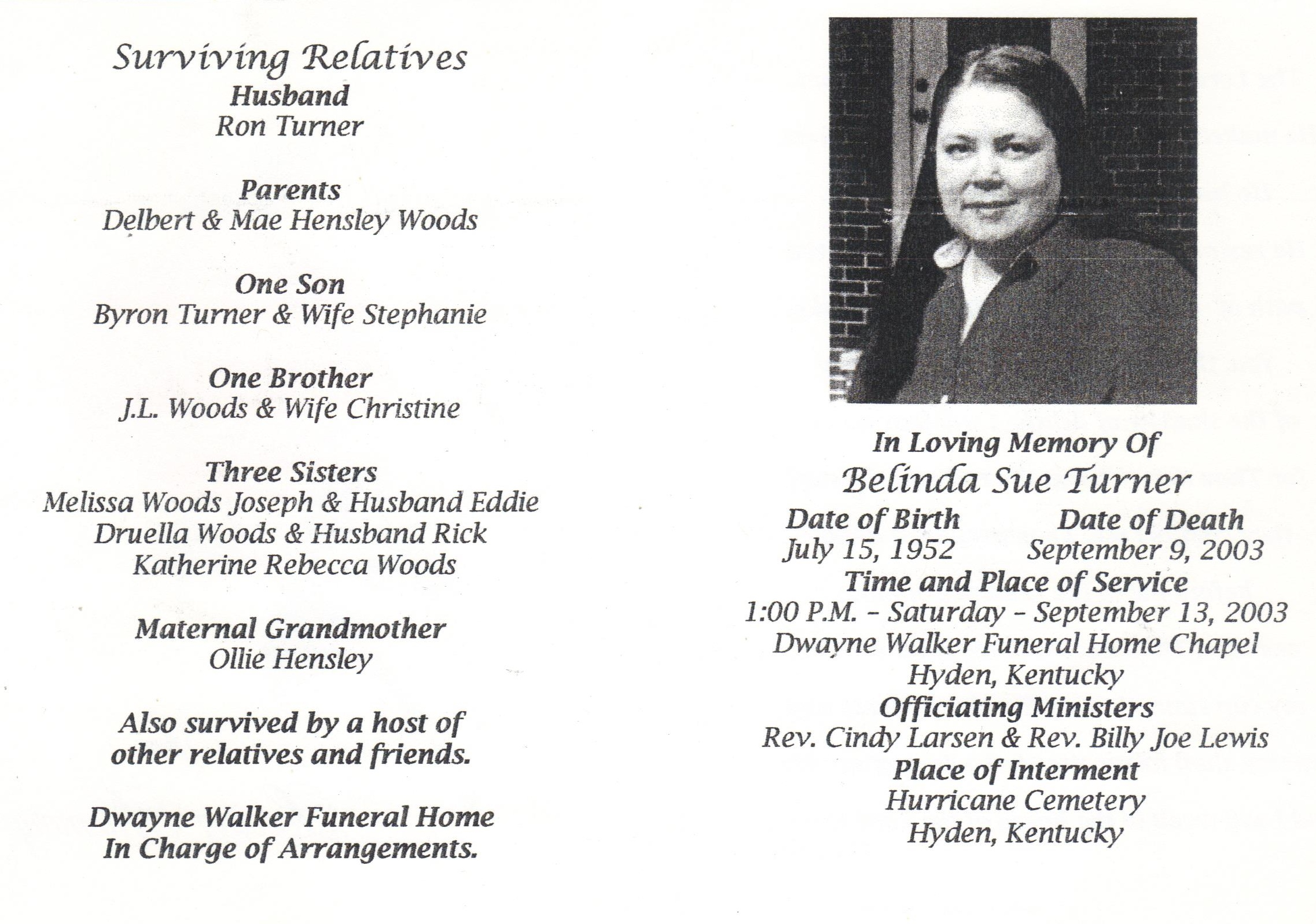 Belinda Sue Woods Turner (1952-2003) - Find A Grave Memorial