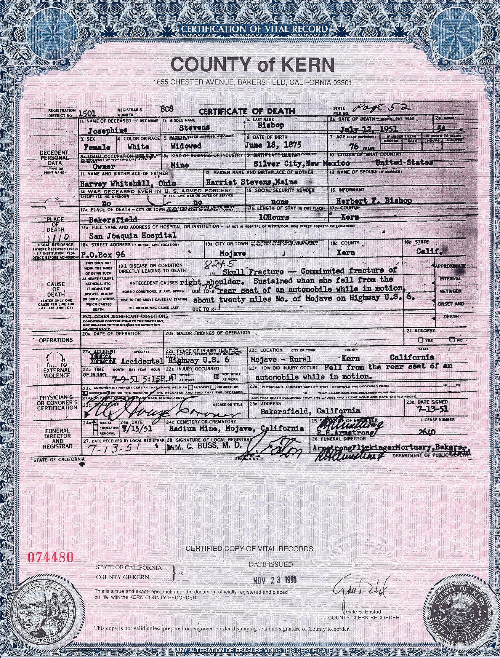 Josephine stevens josie whitehill bishop 1875 1951 find a certified copy of josie bishops death certificate aiddatafo Choice Image