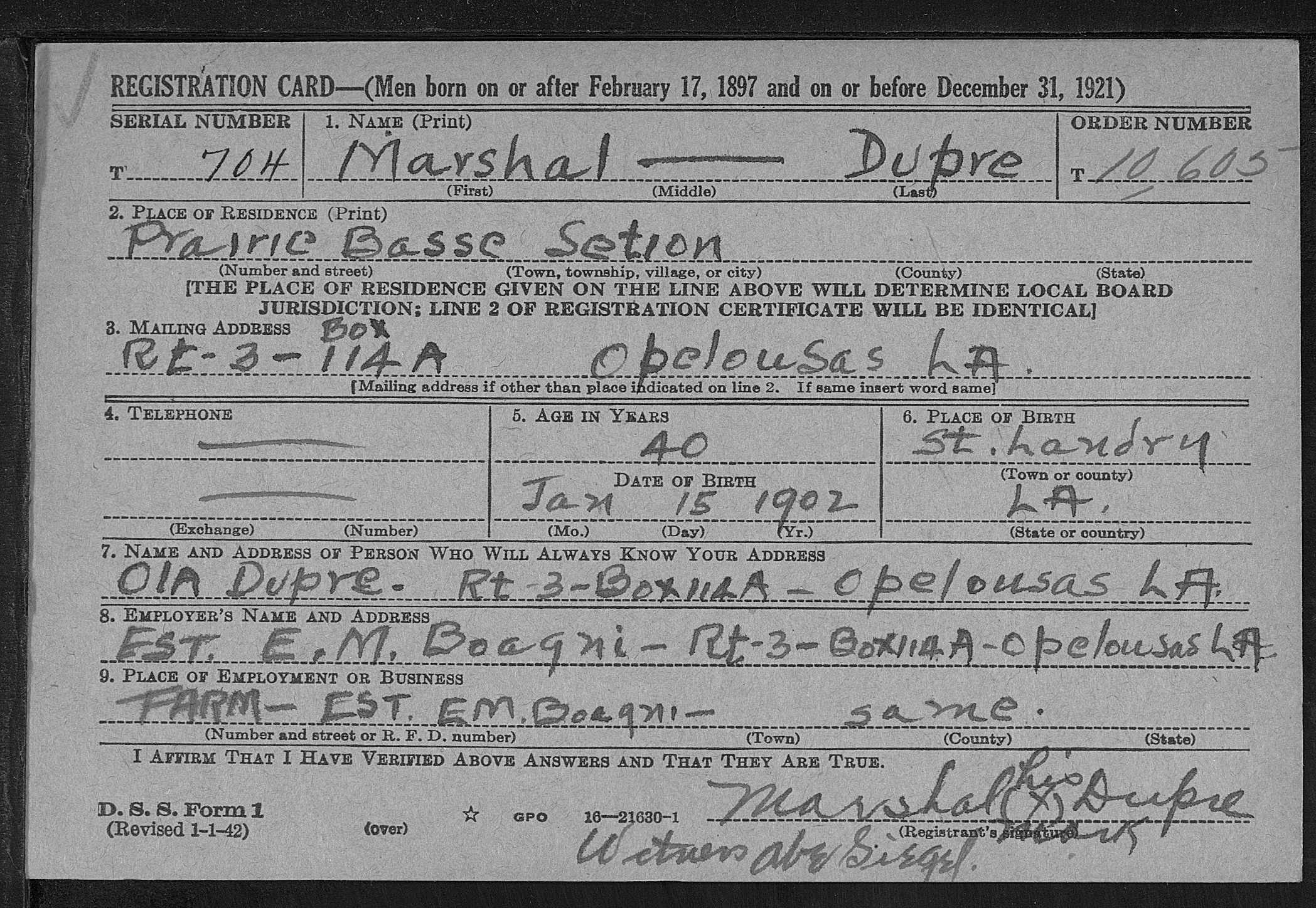 Marshall dupre 1901 1954 find a grave memorial marshal dupre louisiana first registration draft cards 1940 1945 name marshal dupre event type draft registration event year range 1940 1945 event aiddatafo Images