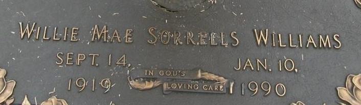 Willie Mae <i>Sorrells</i> Williams