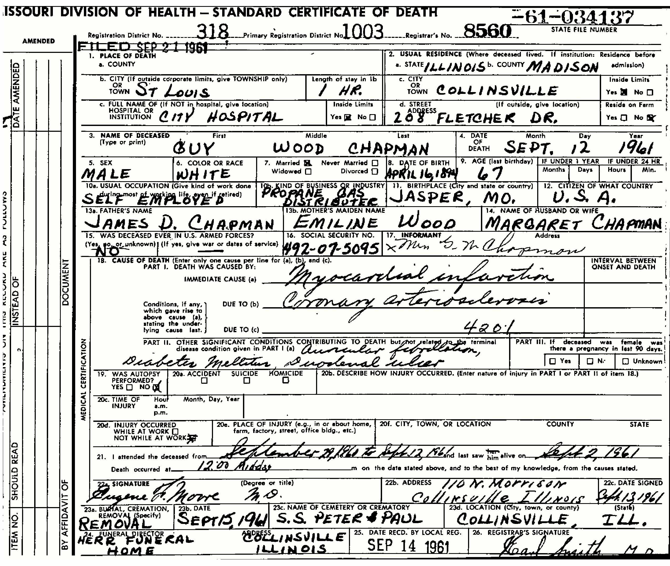 Guy wood chapman 1894 1961 find a grave memorial missouri death certificate aiddatafo Images