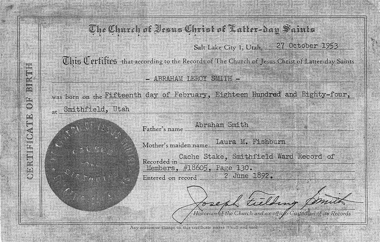 Abraham leroy smith 1884 1969 find a grave memorial abraham leroy birth certificate xflitez Image collections
