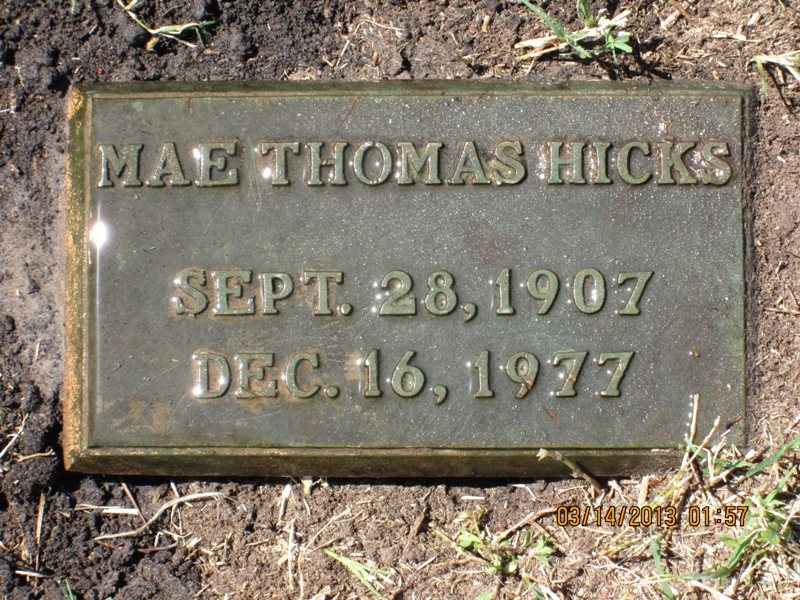 Mattie Mae <i>Thomas</i> Hicks